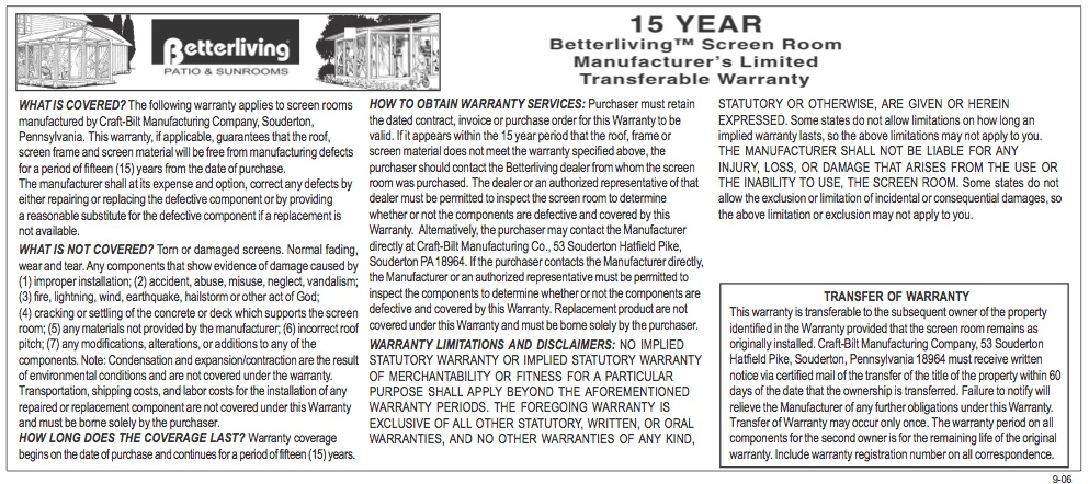 Manufacturer's Limited Transferable Warranty