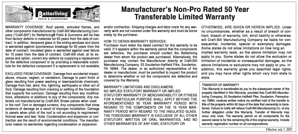 Manufacturer's Non-Prorated Transferable Limited Warranty